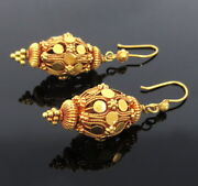 Vintage 18k Yellow Gold Hand Made Decorated Lantern Drop Earrings