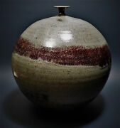 Monumental Studio Pottery Weed Pot Spherical Bud Vase Signed Original Art 10.5""