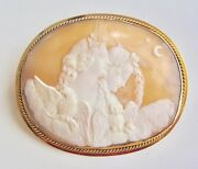 Huge Rare Antique Shell Cameo Night And Day 14k Gold Brooch 2 7/8 W 26.1 Grams