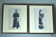 2 Antique Chinese China Qing Dynasty Watercolor Painting Pith Rice Album 1850