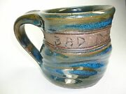 American Art Pottery  Twisted Spiral  Mug. Blue Glazed Painted