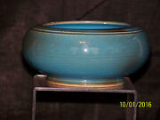French Vallauris Art Pottery High Gloss Aqua Blue Glaze Mid Century Bowl