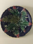 VINTAGE?? MAJOLICA DECORATIVE BOWL WITH FERN PATTERN