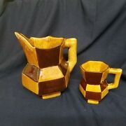 Vintage mid century modern art deco pottery pitcher checkered brown gold