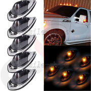 5pc Universal Teardrop Style Smoke Cab Roof Clearance Marker Light Kit For Truck