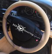 Beige Leather Steering Wheel Cover For Jeep Patriot 2011-17 R Blue Double Stitch
