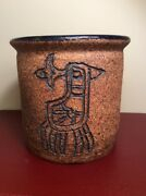 Mid Century Modern Studio Art Pottery Jar with Birds Signed Z. H. Stoneware Vase
