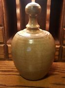 Vintage 1974 Mid Century Studio Art Pottery Hand Thrown Vase Signed Lidded Pot