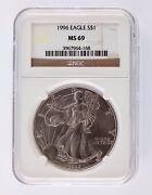 1996 Silver 1oz American Eagle 1 Ngc Graded Ms 69