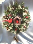 Lighted Wreath + Red Cardinals Snow-frosted Evergreen Pine Cones Berries.836