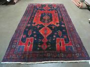 4' 6 X 8' 2 Antique Hand Made India Tribal Geometric Wool Rug Red Blue 129