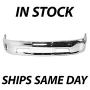 New Chrome - Steel Front Bumper Face Bar For 2013-2018 Ram 1500 Pickup With Fog