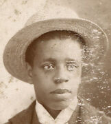 Handsome Young African American Man In Straw Hat. Cabinet Card, Greensburg, Pa.