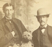 Civil War Era Cdv With Tax Stamp Two Men And A Terrier Dog. 1864 Date.