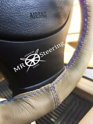 For Mercedes A Clas W168 Beige Leather Steering Wheel Cover Light Blue Double St