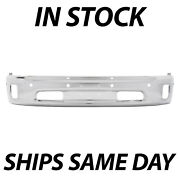 New Chrome Steel Front Bumper Face Bar For 2014-2018 Ram 1500 W/ Fog And Park Ast