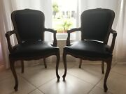 Vintage Chateau D'ax Spa Imported Italian Leather Ornate Carved Arm Chair 2