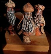 Three Wise Men Puerto Rico Studio Art Pottery Figures 3 Kings Nativity~Signed!