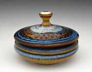 """BILL CAMPBELL Pottery Peacock Pearl Covered  Jar 3""""  Porcelain GREAT Gift Idea !"""