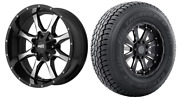 Mo970 17x9 Black Machined Wheels Rims At Tires Package 5x5.5 33 Dodge Ram 1500