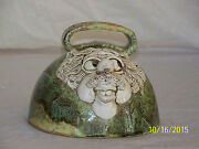 Vintage Hand Formed Face Art Pottery Cheese Bell Signed