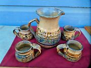Vintage clay pottery hand made  glazed pitcher w. 4 matching cups,Nice condition