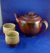 Artisan Teapot + Two Cups - Green River Pottery NM - Signed Theo Helmstadter