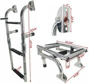 Three Steps Boat Foldable Ladder Stainless Steel Luxury 23.5 Long