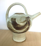Studio Sculptural Ceramic Art Footed Teapot Artist Signed Mark F. No Lid