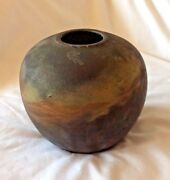 🎁 Clay Pot Vase Small Brown,Copper & Grey  - Signed