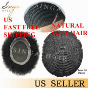 Afro 8mmcurl Mens Toupee Lace Poly Skin African American Hair System Replacement