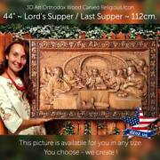 44❤️️last Supper / Lord`s Supper✅wood Carved 3d Artwork Icon Orthodox Picture