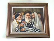 Russian Painter Jewish Rabbi At Synagogue Oil On Canvas Antique Painting