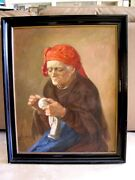 Beautiful Antique Oil Painting Of Old Woman Sewing - 28 X 34 Framed Circa 1900