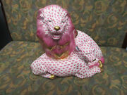 Herend Hand Painted Porcelain Lion And Lioness - Raspbergold White Rare