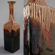 "VTG Art Studio Ceramic Clay Pottery Hand Made Drip Glaze Vase Wt 6 lbs 20"" Tall"