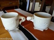 2 Vintage 1978 Fitz And Floyd And Animal Quackers Duck Coffee Mugs Cups Retro