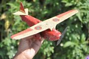 Vintage Wind Up Red And Cream Litho Tin Airplane Toy Germany/england