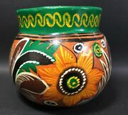 Handmade Pottery Bowl Vase With Holes For Handles, Hangers. Flower Motif 12I