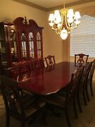 Cherry Dining Room Set With 8 Chairs, Two Leaves, Customized Table Protectors