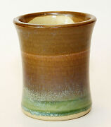 """Studio Pottery Hand Thrown 4"""" Vase, Drinking Glass, Signed, Brown, Blue Green"""
