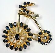 Vintage Natural Blue Sapphires Big Wheel Bicycle Brooch Brass With Certification