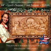 44/112cm Lord`s Supper / Last Supper Wood Carving 3d Picture Art Icon Orthodox