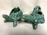 2 Vintage McCoy Pottery Green Planter AND WATERING CAN TURTLE USA MCM RETRO
