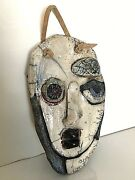 raku pottery mask Picasso style face artisan made signed S. Koppel wall hanging