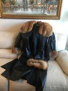 Womens Full Length Leather With Fox Trim Xl Includes Fox Head Band.andnbsp