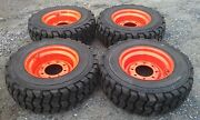 4 New 10x16.5 Skid Steer Tires And Rims For Bobcat-10-16.5 10 Ply-non Directional