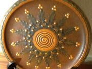 HAND PAINTED POTTERY WALL ART PLATE SPECKLED RICH EARTH COLORS