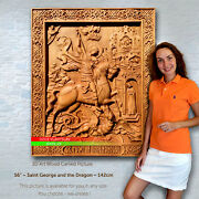 56 / 142cm Wood Carved 3d Art Saint George And The Dragon Icon Picture Paiting