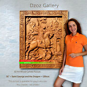 51 / 130cm Wood Carved 3d Art Saint George And The Dragon Icon Picture Paiting